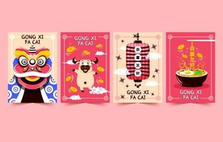 Chinese New Year Cartoon Card Collection vector