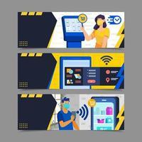 Self Service Mobile Shopping Concept vector
