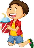 Un niño sosteniendo una taza de bebida personaje de dibujos animados aislado sobre fondo blanco. vector