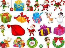 Conjunto de objetos navideños aislado sobre fondo blanco. vector