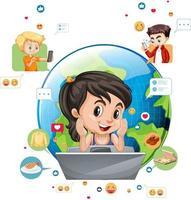 niños con elementos de redes sociales sobre fondo blanco vector