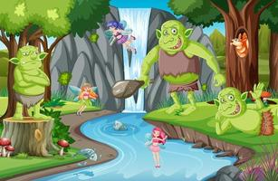 Forest scene with goblin or troll cartoon character vector