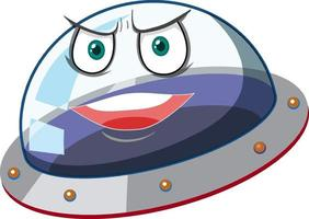 Ufo with angry face expression on white background vector