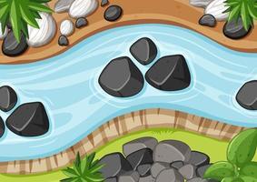 Vista aérea del río de cerca con elemento de piedra. vector