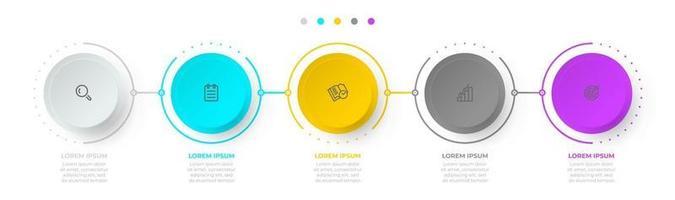 Plantilla de infografías de gradiente circular. procesos de línea de tiempo con 5 opciones, pasos, iconos. ilustración vectorial. vector