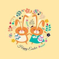 Cartoon Illustration Couple of Easter Rabbit vector