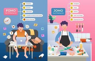 fomo vs jomo infografía vector