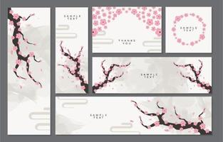 Cherry Blossom Card Collection vector