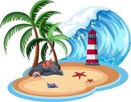 isla aislada y gran ola vector