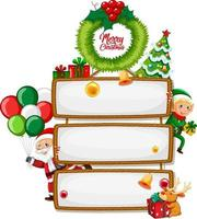 Blank wooden sign with Merry Christmas vector