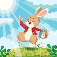 Conejito feliz en concepto de búsqueda de huevos de Pascua vector