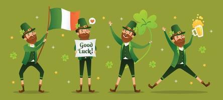 Happy Leprechaun Character with Green Background vector