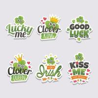 Set of Saint Patrick Quotes Sticker With Clover vector