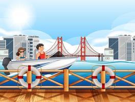escena del río de la ciudad con una pareja conduciendo una lancha rápida vector