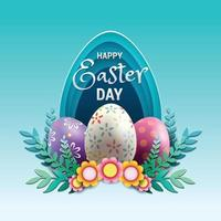 Happy Easter Day with Easter Eggs Concept vector