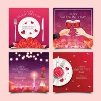 Valentine's Day Dinner and Date Card Templates vector
