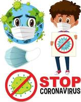 Stop coronavirus logo with earth wearing mask cartoon character and boy holding stop coronavirus sign vector