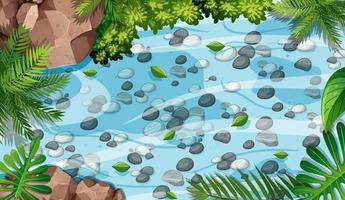 Escena aérea del bosque con piedras en el estanque. vector