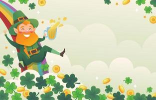 Happy Leprechaun Sliding Down on A Rainbow vector