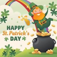 Happy St. Patrick's Day with Smile Leprechaun vector