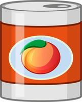 Peach in a tin can vector