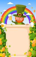 ST. Patrick's with Blank Sign, Balloon and Rainbow Background vector