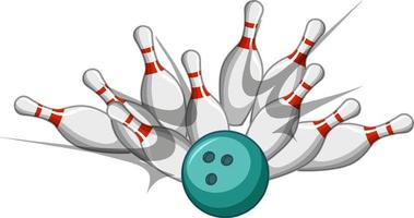 Bowling strike cartoon style isolated on white background vector