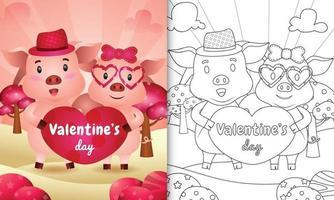 libro para colorear para niños con linda pareja de cerdos de san valentín ilustrada vector