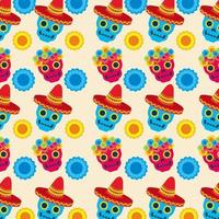 Mexican skulls pattern background vector