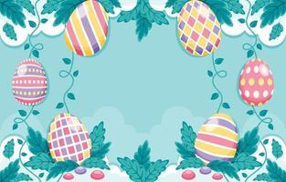 Fondo colorido y hermoso de huevos de pascua con composición de decoración de follajes vector