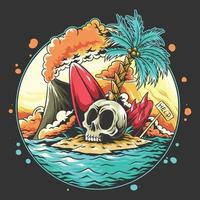 Summer skull head on the beach with a broken surf board vector