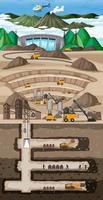 paisaje subterráneo de la minería del carbón vector