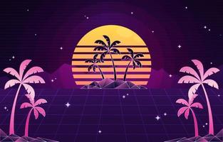 Retro Futuristic Island View Background vector