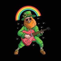 happy saint patrick's day leprechaun playing a guitar illustration vector