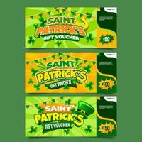 St Patricks Gift Voucher with Green Background vector
