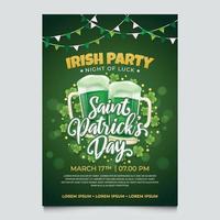 Saint Patrick Day Invitation on Green Background