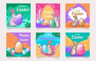 Set of Social Media Post for Easter Day vector
