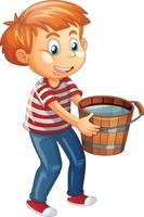 A boy holding bucket full of water on white background vector