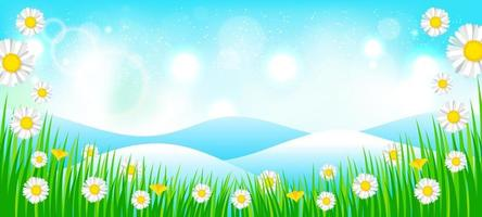 Spring Background with Flowers Scattered Around vector