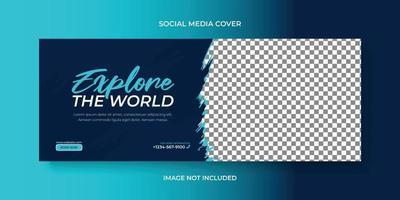 Tour travel social media cover or banner, web banner template design vector