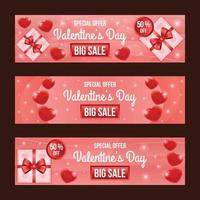 Elegant Red Valentine Day Sale Banner Set with Heart and Gift Decoration vector
