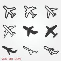 Plane icon on white background, Airplane icon vector. Flat icon aircraft symbols vector