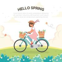 Bicycling Around Hills During Spring vector