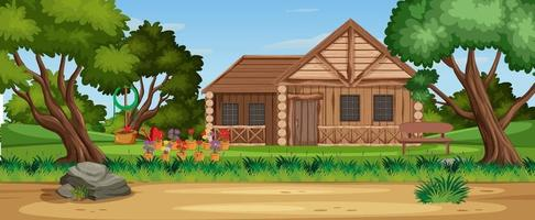 Rural countryside home landscape vector