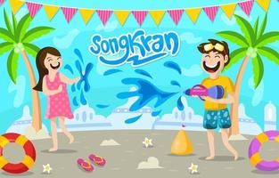 Children Playing with Water Guns vector
