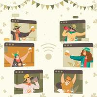 Online Party Celebrate St. Patrick's Day vector