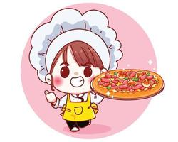 Cute Chef holding a pizza cartoon illustration