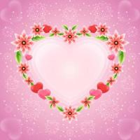 Beautiful Flower Heart Frame for Valentine Day vector