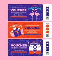 Valentine Day Themed Gift Card Vouchers vector