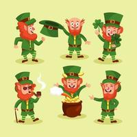 St. Patrick's Day Special Leprechaun Character Set vector